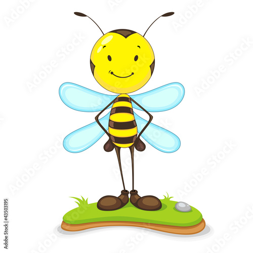 vector illustration of happy bee standing on grass