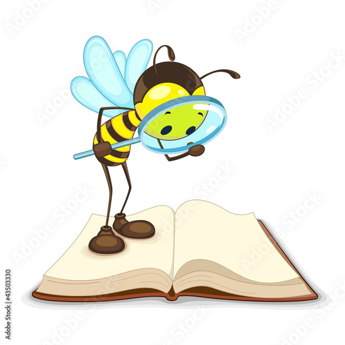 vector illustration of bee searching with magnifying glass