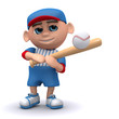 3d Baseball kid swings at the ball