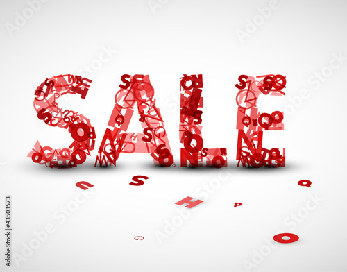 Vector red sale label made from letters