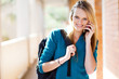 young female university student talking on the phone
