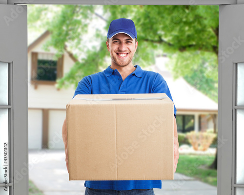 Deliverer holding a box
