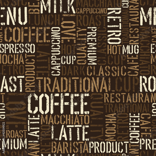 Poster Seamless coffee experience pattern. Vector, EPS8.