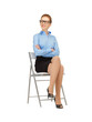 happy and smiling woman on a chair