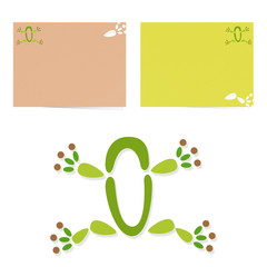 Abstract frog icon and business cards, web