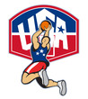 Basketball Player Shooting Jumping Ball USA