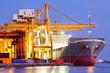Leinwanddruck Bild - Industrial Container Cargo Ship