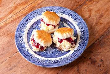 three scones on the plate