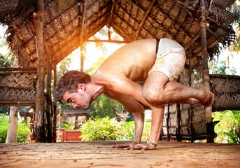 Yoga bakasana in India
