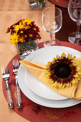 Fall theme dinner table set