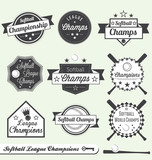 Vector Set: Softball League Champs Labels