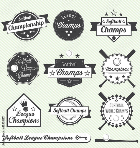 Vector Set: Softball League Champs Labels