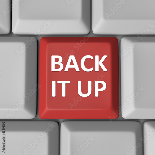 Back It Up Red Computer Keyboard Key Backup
