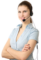 Beautiful business woman with headset. Call center.  Helpdesk.