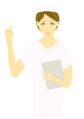 指を上げて説明する看護婦のイラスト