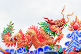chinese dragon with  fireball in the temple on white background