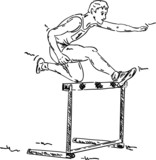 male in a hurdle race poster