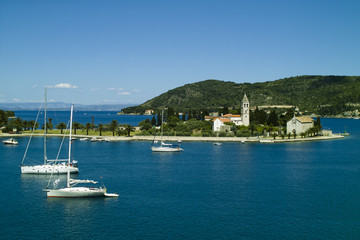 Church in peninsula on Vis island in Croatia