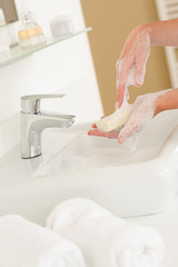 Soap handwash close-up above bathroom sink