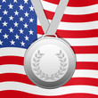 Silver medal with United States flag background