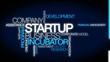 Startup company business incubator tag cloud video animation