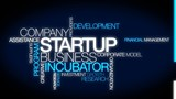 Startup company business incubator tag cloud video animation poster