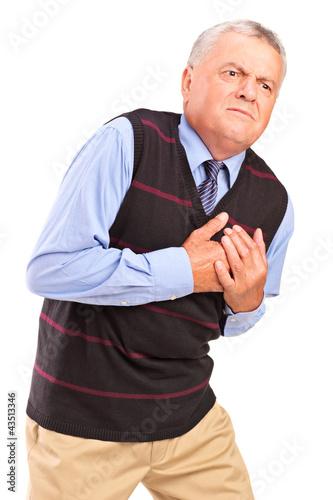 Mature man having a heart attack