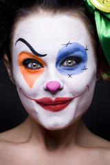 closeup image of the cute smiling clown