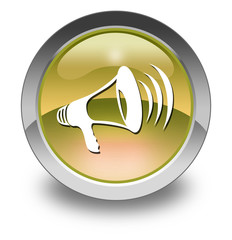 "Yellow Glossy Pictogram ""Megaphone / Announcement Symbol"""