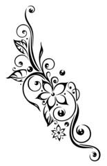 Ranke, flora, Blumen, Blüten, Laub, Blätter, black