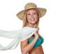 Frau mit Strohhut und Bikini,