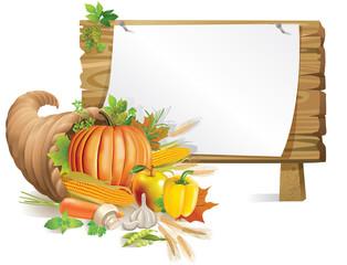 Cornucopia wooden board