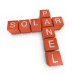 Solar panel 3D crossword on white background