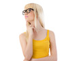 Woman in glasses daydreaming