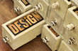 design word - concept in wood type