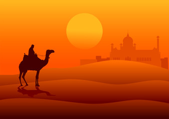Silhouette illustration of an Arabian riding a camel