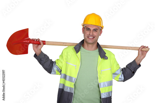 A construction worker with a shovel.