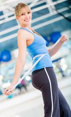 Woman reducing sizes