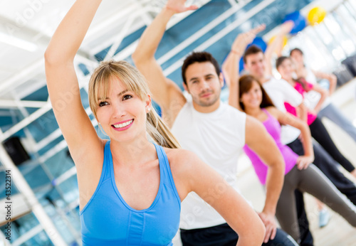 Gym people in aerobics class