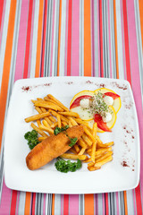 De Volaille cutlet with French fries and vegetables