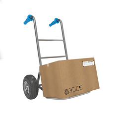 Hand Truck with Box on White Background. Free Shipping Concept.