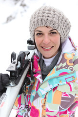 Portrait of a beautiful woman at ski resort
