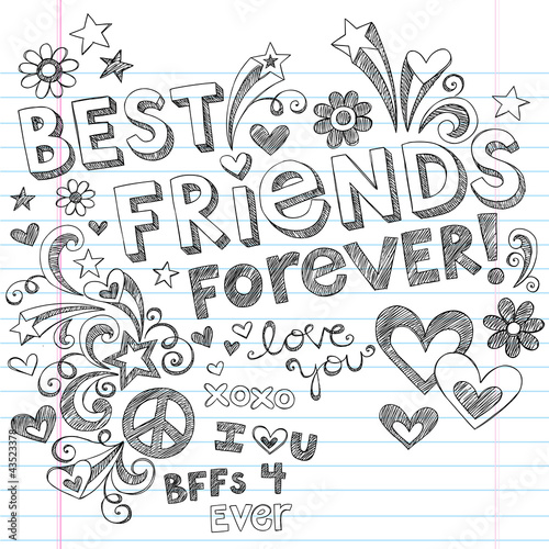 Best Friends Forever Sketchy Doodles Back to School Vector