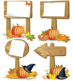 Wooden sign boards Thanksgiving