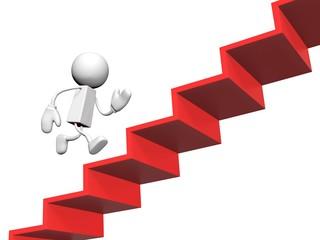 階段を駆け登る