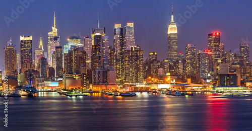 Foto Spatwand New York Manhattan at night