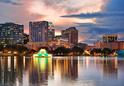 Orlando sunset over Lake Eola