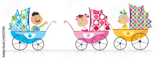 Cute Babies in baby strollers