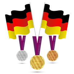 German flag and medals