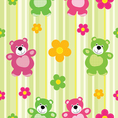 Vector seamless pattern of a toy teddy bear
